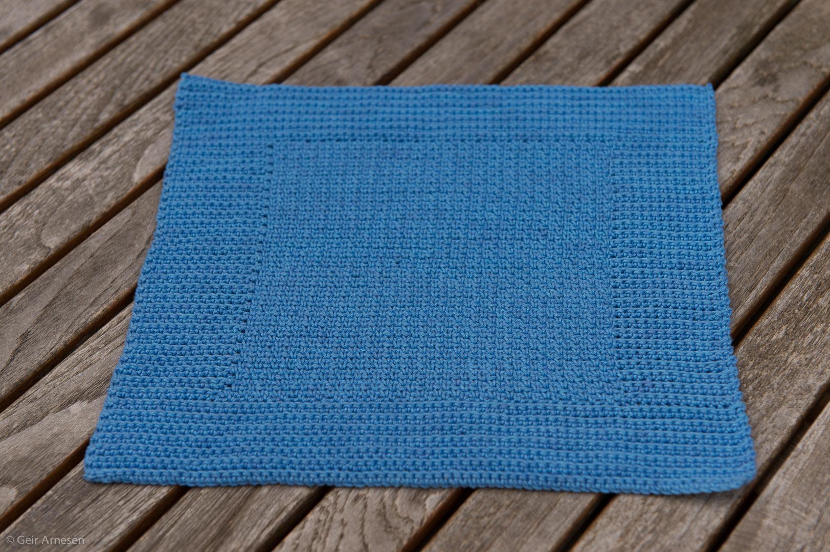 Heklet blå klut oppskrift nr. 1